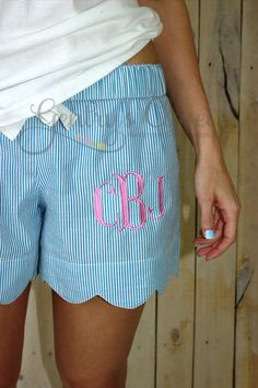 Items similar to Women's blue seersucker scalloped edge monogrammed shorts. Blue lounge shorts for women. Bridesmaid gifts with monogram. on Etsy Satin Pyjama Set, Pajama Set, Moncler, Preppy Style, Style Me, Lounge Shorts Womens, Couture, Mode Shorts, Women's Shorts