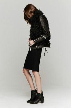 Black leather and shearing paneled jacket - ACNE STUDIOS
