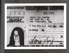 Driver license, posted by the late Sam Andrew or someone in his estate.