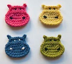 Crochetpedia: 2D Crochet Hippo Applique