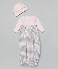 Pink & Gray Zigzag Gown & Beanie - Infant     #zulilyfinds