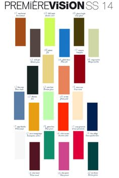 Premier Vision Color Trend...Spring 2014