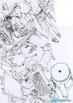 이미지 사이즈 : 738 x 1044 Figure Sketching, Figure Drawing, Drawing Reference, Junggi Kim, Minimal Drawings, City Sketch, Background Drawing, Black And White Sketches, Kim Jung