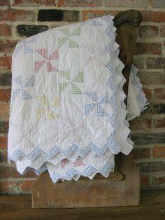 Antique Quilt, Handmade Pinwheel Quilt With Pastel Gingham Fabrics, Sawtooth Edge Quilt, Pastel Quilt