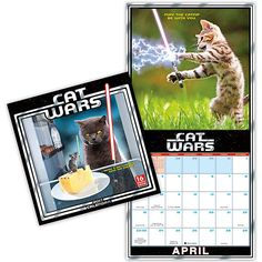 Remind yourself that cats are tiny little Sith (and Jedi) masters in fur suit on a daily basis with this 2017 Cat Wars Wall Calendar, which features cats with lightsabers.
