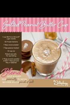Salted peanut butter protein shake: need to try this one ASAP! I highly recommend adding the protein powder!