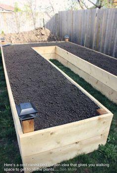 Walk around raised garden bed.