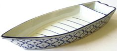 CERAMIC Boat Shaped PLATE 1 Asian Blue & White by BambooBayBazaar