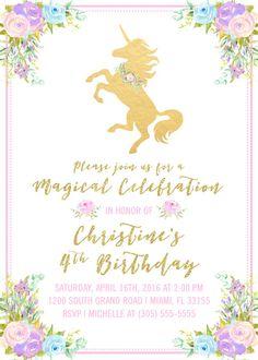 Unicorn Invitation Unicorn Birthday Invitation Girl 1st