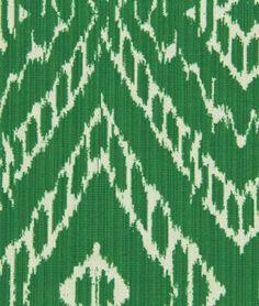 Robert Allen @ Home Strie Ikat Malachite Fabric -  | onlinefabricstore.net // LOVE this Kelly/Emerald Green color!!