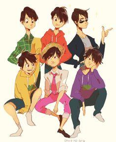 Choromatsu, Osomatsu, Karamatsu, Jyushimatsu, Todomatsu, and Ichimatsu ||| Osomatsu-san Fan Art by LaWeyD