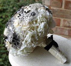 Brooch wedding bouquet black and white