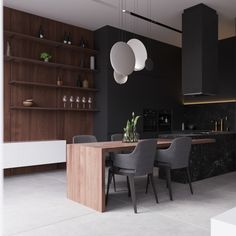 dining room connecting kitchen from dark grey to warm wood