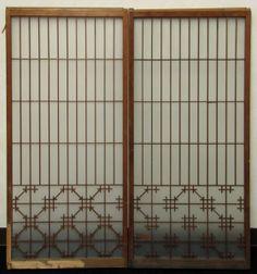 【大正浪漫】古いガラス戸板2枚 格子戸◆古民家 家具 家材 建材_画像2