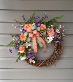 Spring Wreath for Front Door Grapevine Wreath Summer Wreath