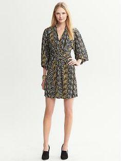 Issa Collection Olive Zebra-Printed Kimono Dress | Banana Republic