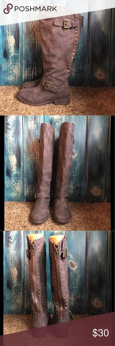 EUC Tall Brown boots with zipper back These boots are so versatile and fun. The zipper and rivet back adds a unique detail. Maurices Shoes