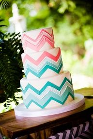 Chevron cake for Caitlin- design and color idea Chevron Birthday Cakes, Chevron Cakes, 13 Birthday Cake, 13th Birthday, Cute Cakes, Pretty Cakes, Beautiful Cakes, Amazing Cakes, Japanese Cake