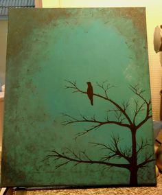 Painting, tree with bird