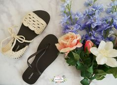 25 Fresh Crochet Patterns for Spring: Crochet sandals from a pair of flip flops.