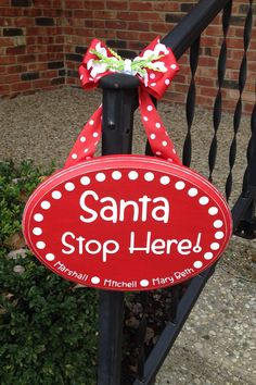 Santa Stop Here Custom painted sign, Christmas sign, Santa Claus, Christmas on Etsy, $25.00-- might be easier to do with precut wood.