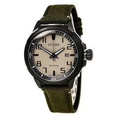 Citizen EcoDrive Nude Dial SS Green Textile Quartz Mens Watch AW146514H *** You can get additional details at the image link.