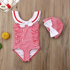 Retro Red Striped Sailor Swimsuit With Matching Cap from kidspetite.com!  Adorable & affordable baby, toddler & kids clothing. Shop from one of the best providers of children apparel at Kids Petite. FREE Worldwide Shipping to over 230+ countries ✈️  www.kidspetite.com  #swimsuit #infant #newborn #swim #swimwear #girl #baby #beach Baby Girl Swimwear, Hot Dads, Swimsuit Material, Swim Caps, Daddys Little, More Cute, Two Piece Swimsuits, Red Stripes, Sailor