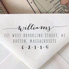 Custom Calligraphy Stamp: Wedding Stationary Wood Stamp, Engraved, Address, Stationary on Etsy, $20.95