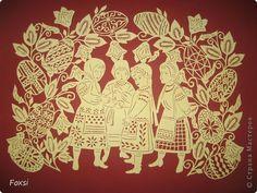 Картина панно рисунок Пасха Вырезание новая работа Бумага