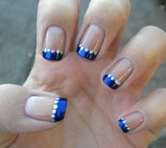 """If you're unfamiliar with nail trends and you hear the words """"coffin nails,"""" what comes to mind? It's not nails with coffins drawn on them. It's long nails with a square tip, and the look has. French Tip Nail Designs, Gel Nail Designs, French Nails, French Manicures, Silver French Manicure, Wedding Nails Design, Wedding Manicure, Blue Wedding Nails, Yellow Wedding"""