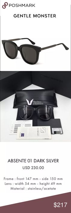 Gentle Monster Sunglasses Gentle Monster sunglasses in the Absente style with the Dark Silver legs. These are really popular and featured in many Korean drama shows! 100% authentic and brand-new. Uni-sex. Gentle Monster Accessories Sunglasses