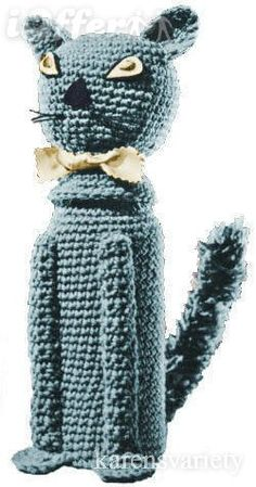 cat crochet bottle