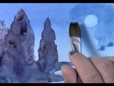 Watercolor Painting of Moon and Trees by Yong Chen - YouTube