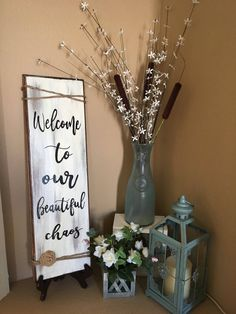 Beautiful Chaos or Excuse Mess Sign Floor Vase Decor, Vases Decor, Rustic Farmhouse Decor, Rustic Decor, Rustic Charm, Boho Decor, Farmhouse Style, Home Living Room, Living Room Decor
