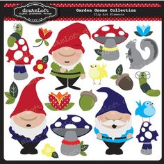 Garden Gnome Collection Clip Art Clipart Elements Collage Sheet for cards, birthday themes, stationary, invitations, scrapbooking Doodle Characters, Clip Art Pictures, Silhouette Clip Art, Woodland Fairy, Doll Quilt, Felt Patterns, Art Clipart, Gnome Garden, Collage Sheet