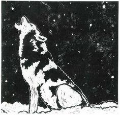 Wolf in winter - linocut print - Katherine Grey, U.S.A.