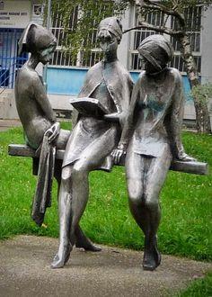 Bratislava, sculpture in front of School for gifted children Book Sculpture, Outdoor Sculpture, Bratislava, Statue En Bronze, Buddha, Art Public, Instalation Art, Art Programs, Cultural