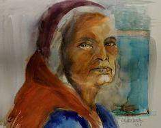 Estudio retrato mujer hindú Acuarela 30x40 2018