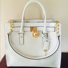 "Michael Kors Hamilton Saffiano Lg Tote NWT Saffiano Leather -Two Top Handles, Leather Shoulder Strap -Interior Zip Pocket, Interior Cell Phone Pocket, Two Interior Pouch Pockets, Keyfob -Working Lock and Key -14"" x 13"" x 6.25"" -Magnetic Fastening -Fully Lined -Imported Michael Kors Bags Totes"
