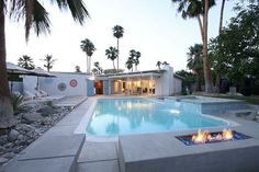 Via Jacques, Your Private Resort - vacation rental in Palm Springs, California. View more: Palm Springs Häuser, Palm Springs Vacation Rentals, Palm Springs California, California Vacation, Mid Century Landscaping, Backyard Kitchen, Mid Century House, Spring Home, Dream Vacations