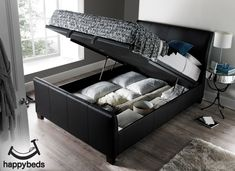 The Allendale is an ottoman storage bed that has gentle curves to both headboard and footboard. The bed is upholstered in textured leather with a large and spacious floating storage area beneath the mattress. The extra deep side rails increase the overall Ottoman Storage Bed, Bed Storage, Storage Area, Luxury Bedroom Design, Black Bedding, Leather Ottoman, Headboard And Footboard, New Beds, Luxurious Bedrooms