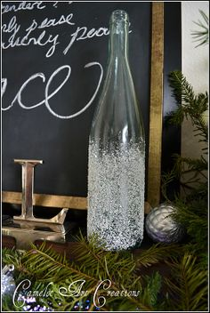 decorate wine botles | ... wine bottle in some epsom salt as well to give the bottle a snow glass