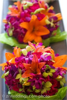 Bright Colored Wedding Bouquets | Bright colored bouquet filled with multicolored orchids. #flowers # ...