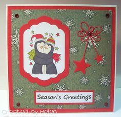 Using 'Penguin Hugs' from Little Claire Xmas Cards, Hugs, Penguins, Snowman, Seasons, Christmas, Stamps, Design, Weihnachten
