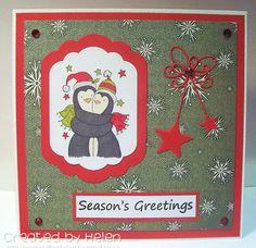 Using 'Penguin Hugs' from Little Claire Penguin Hug, Xmas Cards, Hugs, Penguins, Snowman, Seasons, Stamps, Christmas, Design