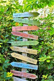Garden sign post Nice idea for directions to kids houses from Grami's