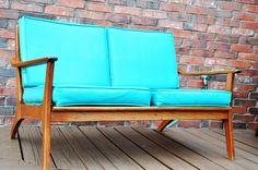 Outdoor Sofa, Outdoor Furniture, Outdoor Decor, Fairy Lights, Canopy, Love Seat, Deck, Turquoise, Wood