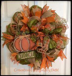 Fall Deco Mesh Wreath by CreativeDesignsJMH on Etsy.I adore this fall wreath! Love the pumpkin on burlap! Fall Mesh Wreaths, Fall Deco Mesh, Deco Mesh Wreaths, Holiday Wreaths, Halloween Wreaths, Burlap Wreaths, Wreath Fall, Autumn Wreaths, Floral Wreaths