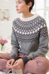 no - pansy genser Fair Isle Knitting Patterns, Knitting Designs, Knit Patterns, Motif Fair Isle, Icelandic Sweaters, Knit Basket, Dress To Impress, Knitwear, Knit Crochet