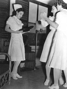 Nurses listening to records Patient ladies Patient....get to work!
